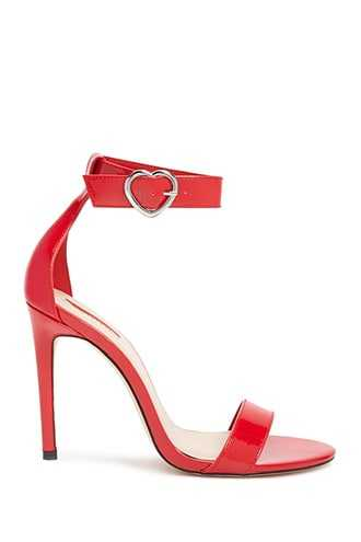 Forever 21 Faux Patent Leather Heels  Red - GOOFASH