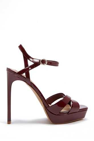 Forever 21 Faux Patent Leather Platform Heels  Red - GOOFASH
