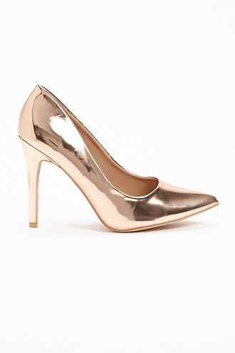 Forever 21 Faux Patent Leather Pumps  Rose Gold - GOOFASH