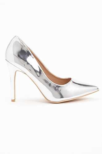Forever 21 Faux Patent Leather Pumps  Silver - GOOFASH