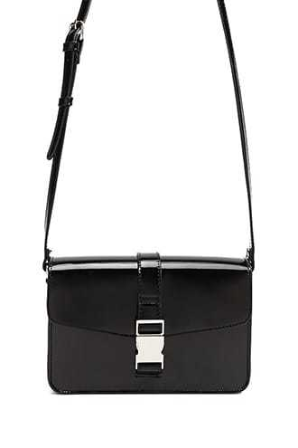 Forever 21 Faux Patent Leather Square Crossbody Bag  Black - GOOFASH