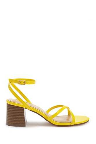 Forever 21 Faux Patent Leather Strappy Heels  Yellow - GOOFASH