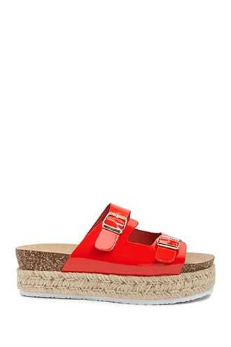Forever 21 Faux Patent Leather Wedges  Red - GOOFASH