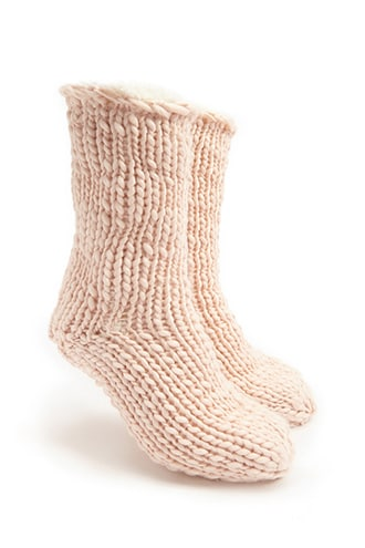Forever 21 Faux Shearling Lined Crew Socks  Pink - GOOFASH