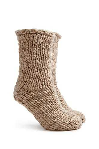 Forever 21 Faux Shearling Lined Crew Socks  Taupe - GOOFASH