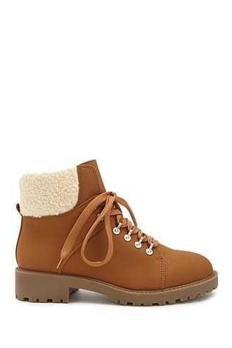 Forever 21 Faux Shearling Trim Combat Boots  Tan - GOOFASH