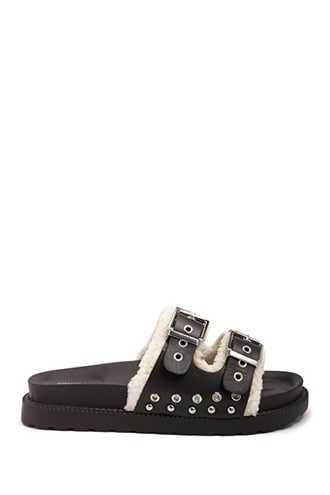 Forever 21 Faux Shearling Trim Slides  Black - GOOFASH