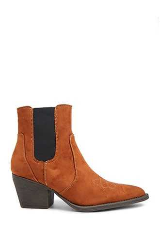 Forever 21 Faux Suede Ankle Boots  Tan - GOOFASH