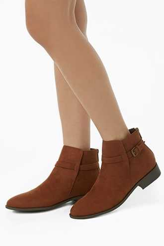 Forever 21 Faux Suede Ankle-Strap Booties  Brown - GOOFASH