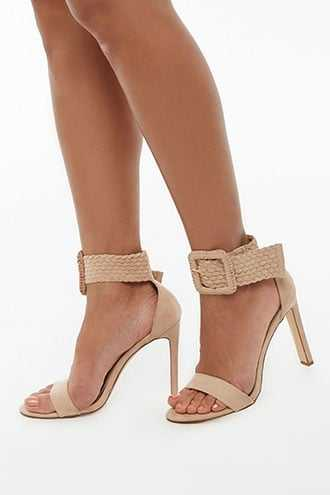 Forever 21 Faux Suede Ankle-Wrap Heels  Natural - GOOFASH