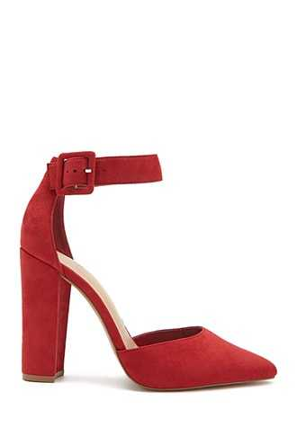 Forever 21 Faux Suede Block Heels  Red - GOOFASH
