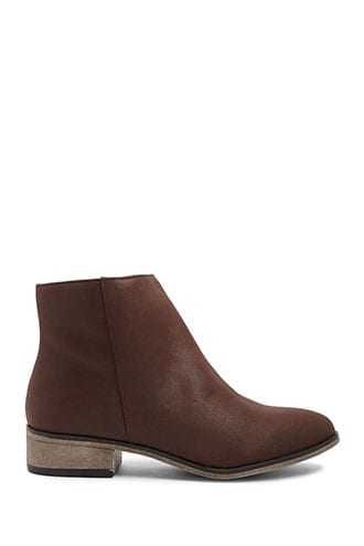 Forever 21 Faux Suede Booties Brown - GOOFASH