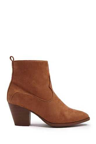 Forever 21 Faux Suede Booties  Camel - GOOFASH