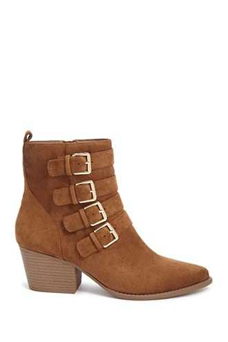 Forever 21 Faux Suede Buckle Ankle Booties  Brown - GOOFASH
