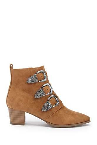 Forever 21 Faux Suede Buckle Ankle Booties  Tan - GOOFASH