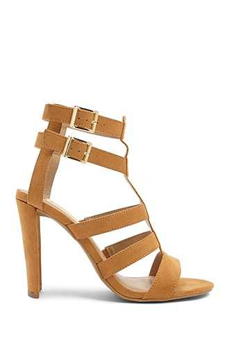 Forever 21 Faux Suede Caged Heels  Camel - GOOFASH