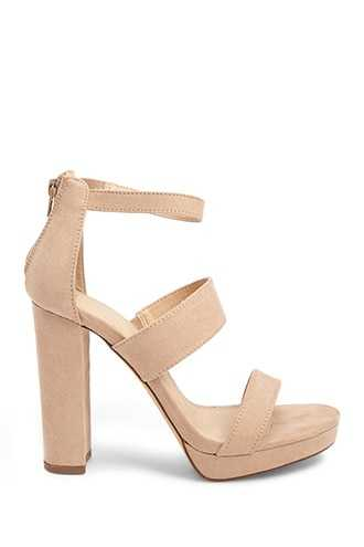 Forever 21 Faux Suede Chunky Heels Natural - GOOFASH