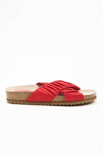 Forever 21 Faux Suede Crisscross Slides Red - GOOFASH