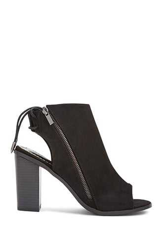 Forever 21 Faux Suede Cutout Booties  Black - GOOFASH