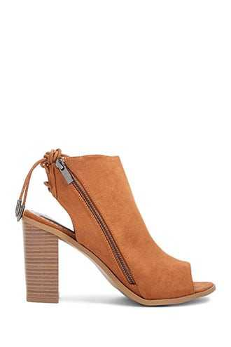 Forever 21 Faux Suede Cutout Booties  Chestnut - GOOFASH