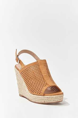 Forever 21 Faux Suede Cutout Espadrille Wedges Tan - GOOFASH