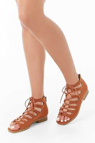 Forever 21 Faux Suede Cutout Heels  Brown - GOOFASH