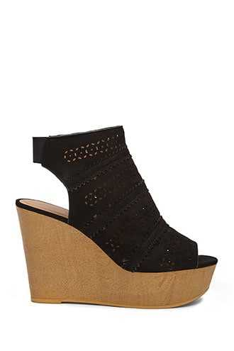 Forever 21 Faux Suede Cutout Wedges Black - GOOFASH