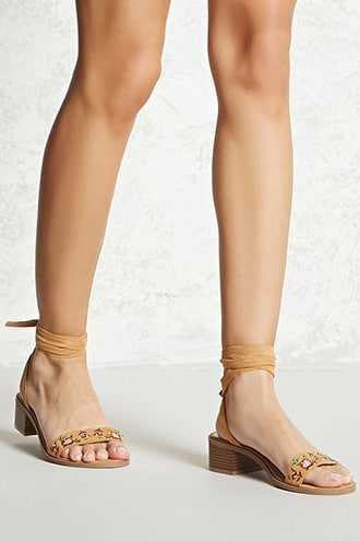 Forever 21 Faux Suede Embroidered Sandals  Camel - GOOFASH