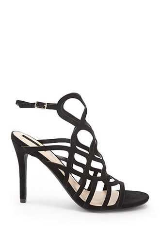 Forever 21 Faux Suede Geo-Cage Heels  Black - GOOFASH