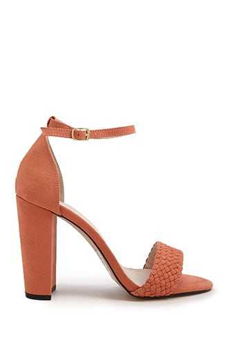 Forever 21 Faux Suede Heels  Coral - GOOFASH