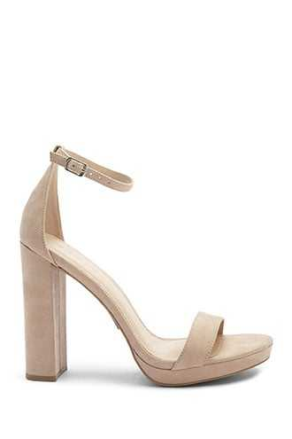 Forever 21 Faux Suede Heels Natural - GOOFASH