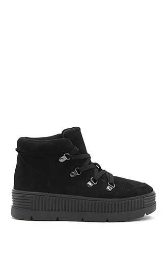 Forever 21 Faux Suede High-Top Sneakers  Black - GOOFASH