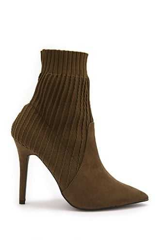 Forever 21 Faux Suede & Knit Sock Boots  Khaki - GOOFASH