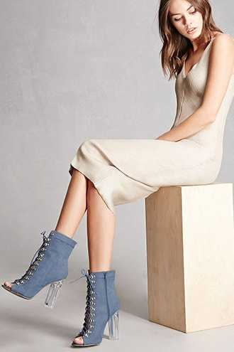 Forever 21 Faux Suede Lace-Up Ankle Boots Blue - GOOFASH