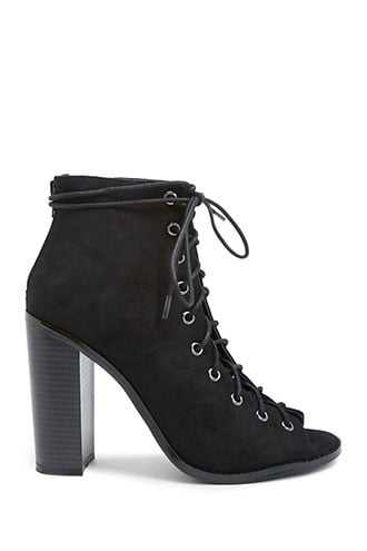 Forever 21 Faux Suede Lace-Up Peep-Toe Booties  Black - GOOFASH