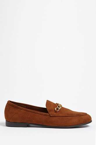 Forever 21 Faux Suede Loafers  Chestnut - GOOFASH