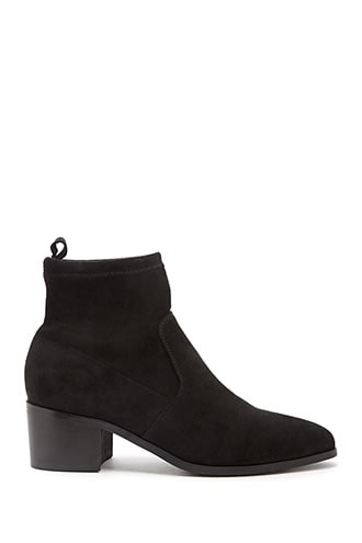 Forever 21 Faux Suede & Microfiber Sock Ankle Booties  Black - GOOFASH