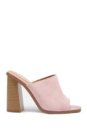 Forever 21 Faux Suede Mules Blush - GOOFASH