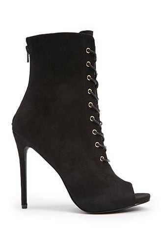 Forever 21 Faux Suede Open-Toe Booties  Black - GOOFASH