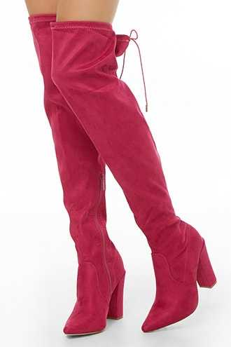 Forever 21 Faux Suede Over-the-Knee Boots  Fuchsia - GOOFASH