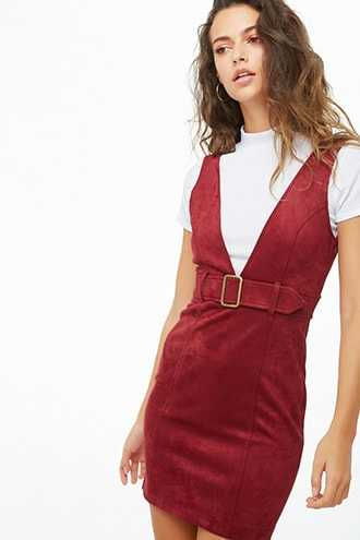 Forever 21 Faux Suede Pinafore Dress  Brick - GOOFASH