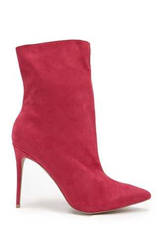 Forever 21 Faux Suede Pointed Booties  Magenta - GOOFASH