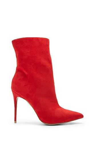 Forever 21 Faux Suede Pointed Booties  Red - GOOFASH