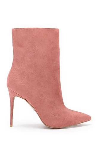 Forever 21 Faux Suede Pointed Booties  Rose - GOOFASH