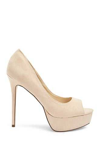 Forever 21 Faux Suede Pumps  Nude - GOOFASH