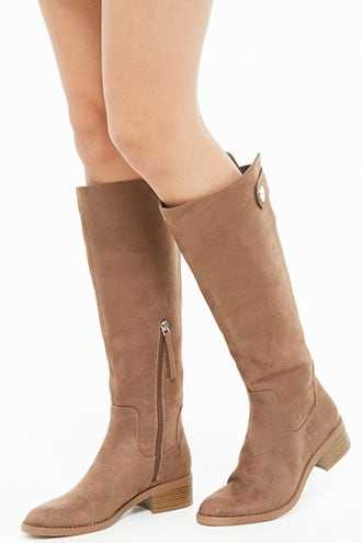 Forever 21 Faux Suede Riding Boots  Taupe - GOOFASH