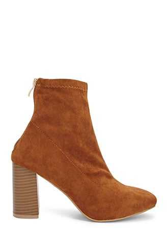 Forever 21 Faux Suede Sock Booties  Camel - GOOFASH