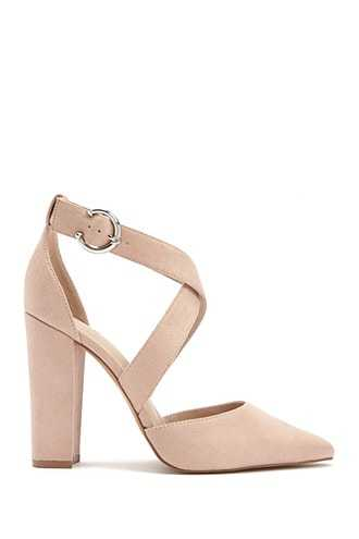Forever 21 Faux Suede Strappy Block Heels  Taupe - GOOFASH