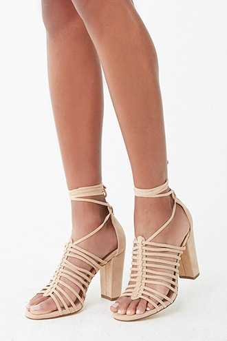 Forever 21 Faux Suede Strappy Cage Heels  Natural - GOOFASH