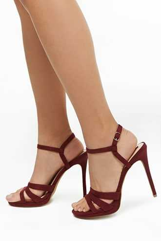 Forever 21 Faux Suede Strappy Heels  Wine - GOOFASH